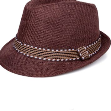 Brown With Band Baby Prop Fedora Hat - CCHT120
