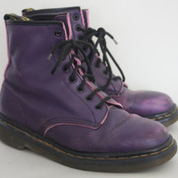 1990s 8 EYE PURPLE DOCS | Vintage 90s Colored Doc Marten Boots Made in England | size 9 womens / 7 mens