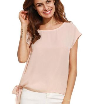 Women Blouse Shirt Loose Style Woman Blouses Styles Apricot Tie Side Round Neck Short Sleeve Blouse