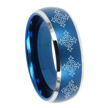 10mm Multiple Crosses Dome Brushed Blue 2 Tone Tungsten Wedding Bands Ring
