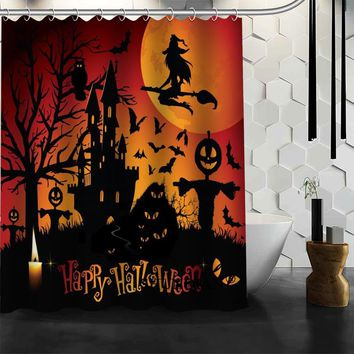 Happy Halloween Shower Curtain High Quality Bathroom product Personalized Custom Fabric Bath Curtain