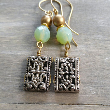 Mint and gold dangle earrings, Boho drop earrings, filigree dangle earrings, sea green and gold beaded earrings, bohemian inspired earrings