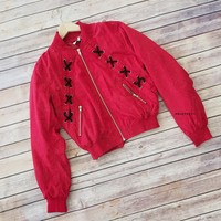 Red Lace Up Detail Bomber Jacket