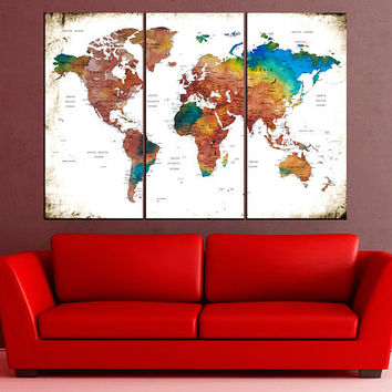 travel world map, push pin world map wall art canvas print, Modern wall decor, colorful world map art home decor No:10S19