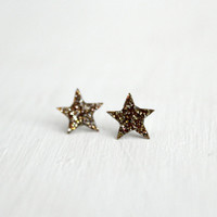 tiny star post earrings in gold sparkles - star glitter earrings sterling silver posts