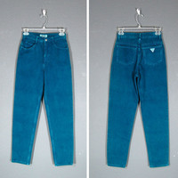 Vintage High Waisted Jeans / Guess Jeans / Teal / Tapered Leg / 1980's