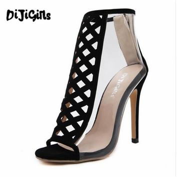 Summer Women's Sandals 2017 Summer Fashion Transparent Sandals High Gladiator Sandals Peep Toe Ankle Boots Woman Shoes Black