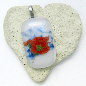 Fused Dichroic Glass Pendant - Flower Pendant