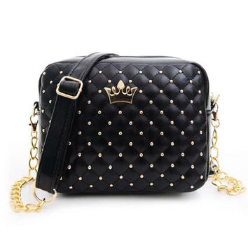2016 Summer Fashion Women Messenger Bags Rivet Chain Shoulder Bag PU Leather Crossbody Quiled Crown bags