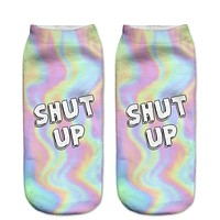 SHUT UP Women's Ankle Socks in Pastel Swirl