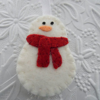 Felt Snowman Ornament Christmas Tree Decoration Primitive Felted Wool Scarf