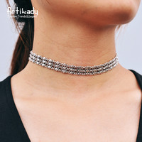Artilady silver choker necklace vintage silver plated zinc alloy choker necklace for women jewelry party