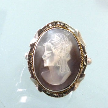 Victorian Cameo Ring Antique Abalone Shell Marcasites Sterling Silver Size 6