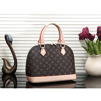 Louis Vuitton LV Newest Popular Women Shopping Bag Leather Satchel Handbag Shell Type Bag Coffee LV Print I-MYJSY-BB