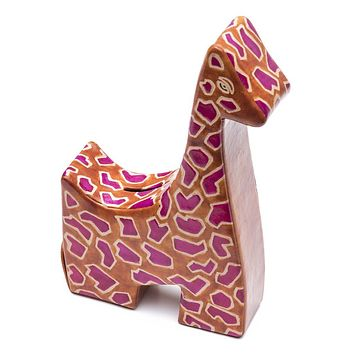 Leather Giraffe Coin Bank or Piggy Bank