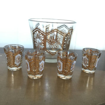 Mid Century Shot Glasses and Ice Bucket Glass Vintage Gold Motif 5pc Set