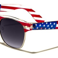 USA Flag Wayfarer Unisex Sunglasses with Gradient Smoke Lenses