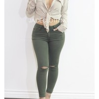Forest Green Ripped Knee Jeans - Bottoms