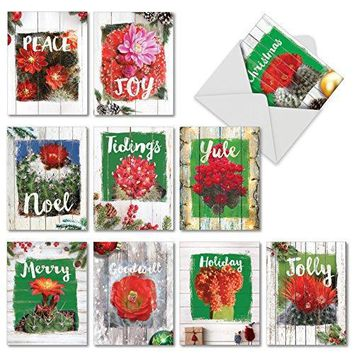 Flowering Christmas Cactus - 10 Assorted Christmas Note Cards Blooming Succulent and Holidays Flowers, with Envelopes.