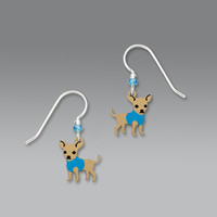Sienna Sky Earrings - Chihuahua with Blue Sweater