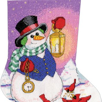 """Snowman With Lantern Stocking Counted Cross Stitch Kit 17"""" Long 14 Count"""