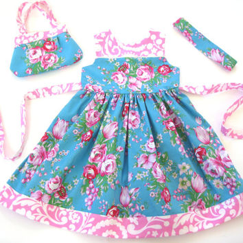 Toddler 4T dress with matching reversible headband and toddler purse birthday dress sunday best floral sundress girls 4T dress girls purse