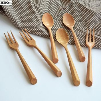 Hot 6pcs Creative Natural Wooden Dinnerspoon Fork Tableware Set Serving Fruit Salad Fork Teaspoon Korean Style Cutlery Utensiles