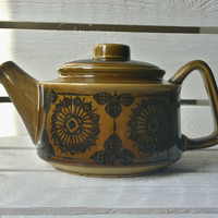 Vintage glazed and hand painted Scandinavian style tea pot / kettle from the 1970s