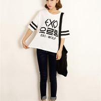 Korean letters printed loose big yards was thin T-shirt