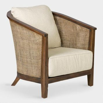 Rattan and Teak Tawney Club Chair with Cushions