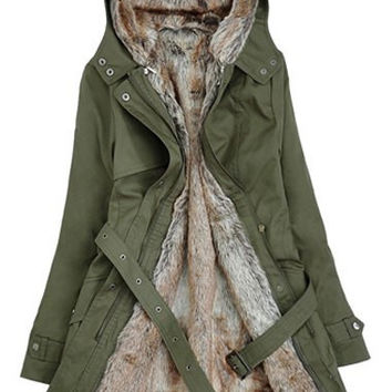 Faux Fur Hood Long Sleeve Zippered Coat with Belt