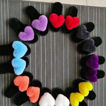 Woman Fashion Fall Winter Rabbit Hair Heart Shape Slippers Candy Color Heart Sha