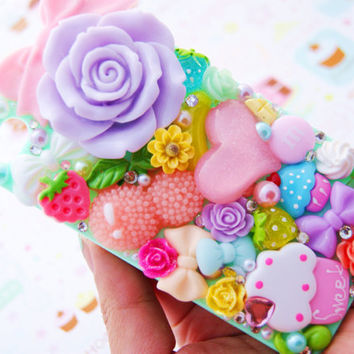 Pastel Rose Decoden 4 4s Rainbow Color Designer Elegant Pearl Decoden Bling Rhinestone Cell Phone Case