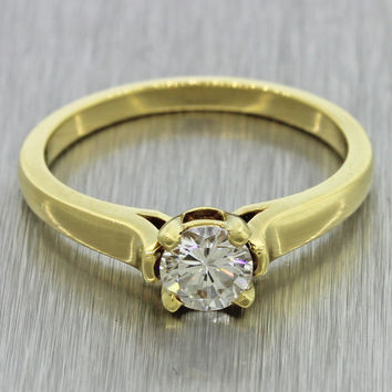 $6000 Cathy Waterman Estate 18k Solid Yellow Gold 0.50ct Diamond Engagement Ring