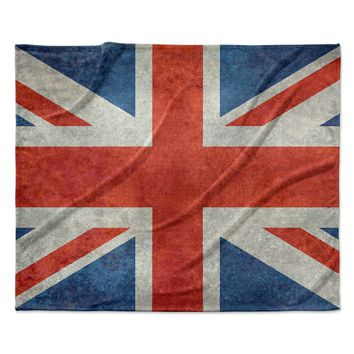 "Bruce Stanfield ""UK Union Jack Flag"" Red Blue Fleece Throw Blanket"