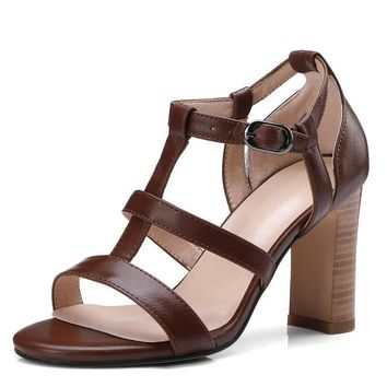 Women's Open Toe Block High Heel Sandals Ankle Strap Platform Pump Chunky Shoes