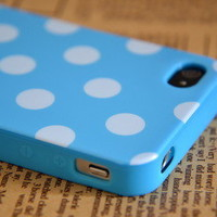 Cute Baby Blue+White Polka Dots Soft Shell Case For iPhone 4 4S+Button Sticker
