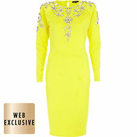 Bright yellow embellished bodycon dress - bodycon dresses - dresses - women
