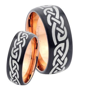 His Hers Celtic Knot Infinity Loves Dome Tungsten Rose Gold Mens Wedding Band Set