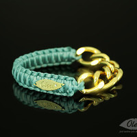 by (Oleel) Teal Cobra Silky Bracelet with Golden Chain