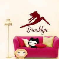 Name Wall Decal Dance Vinyl Decals Ballet Dancing Ballerina Acrobatics Gymnastics Wall Decal Custom Personalized Girls Name Decor T187