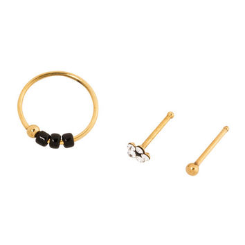 20G Gold Nose Hoop and Studs Set of 3
