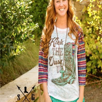 Women's Fashion Shirt Southern Grace Kick The Dust Up Serape Sleeves