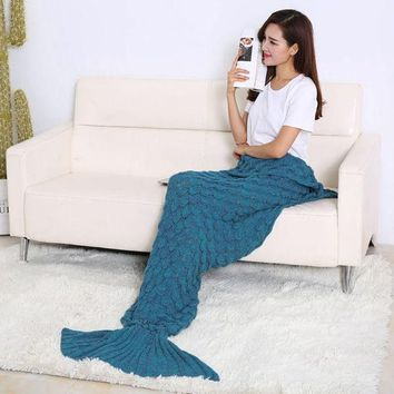 ONETOW 190 x 90cm Soft Comfort Handmade Knitted Mermaid Tail Blanket Cute Warm Sofa Air Conditioner Cotton Blankets For Children Adults