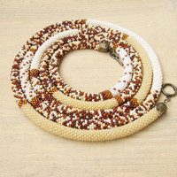 Long Beaded Crochet Rope Necklace, Safari, Bead Crochet Rope, animal print ,white, brown, african jewelry, beige necklace, brown necklace