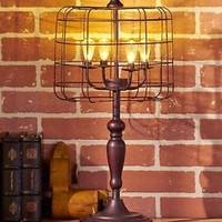 Bronze Industrial Style Caged LED Table Lamp Decorative Lighting Home Decor