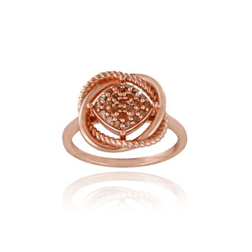 18K Rose Gold over Sterling Silver 1/4ct Red Diamond Love Knot Ring Size 6