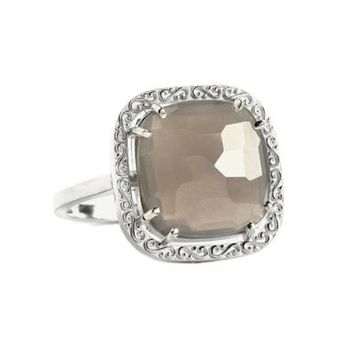 Suzanne Kalan Sterling Silver 12mm Cushion-Cut Grey Moonstone Filigree Bezel Ladies' Ring