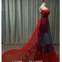 Sexy red&blue strapless A-line plus size lace tulle satin cocktail party dress prom dress Christmas dress Sweep Train ET270