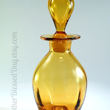 Mid Century Amber Glass Decanter